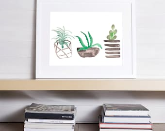 Watercolor Succulent, Potted Succulent Print, Succulent Print, Succulent Watercolor, Watercolor Print, Plant Watercolor Print, Succulents