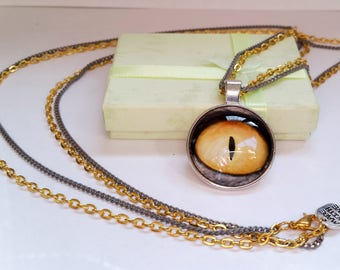 Dragon's Eye - Gothic original yellow cat eye cabochon charm pendant necklace Israel Hand made