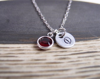 personalized july birthstone necklace, sterling silver filled, initial necklace, Swarovski Drop necklace, siam,ruby necklace,custom necklace