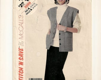 """A Front Button, Box-Style Vest & Straight Skirt w/ Low Pleats Pattern for Women: Uncut - Sizes 8-10-12, Bust 31-1/2"""" - 34"""" • McCall's  3289"""