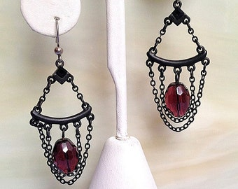 Amethyst Faceted Bead in Dangling Japanning Black Chains Earrings