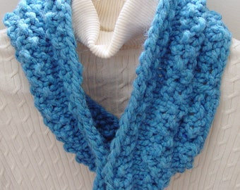 Hand Knit Cowl/ Infinity Scarf/Circle Scarf/ Chunky Knit Sky Blue With Matching Headband