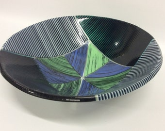 Blue and Green and White Fused Glass Bowl - Multiple Sizes to Choose From