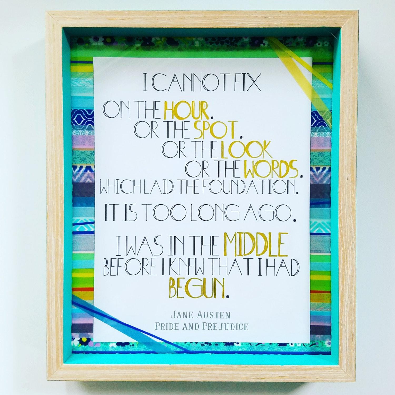 8 x 10 Washi Collage enmarcado arte de citar Jane Austen