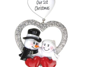 Married 1st Christmas Couple Personalized Christmas Ornament