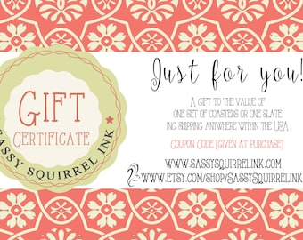 Gift Voucher, Coupon Code, Sassy Squirrel Ink, Gift Certificate, Gift Card