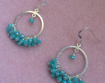 Mint Chalcedony Dangle Hoop Earrings