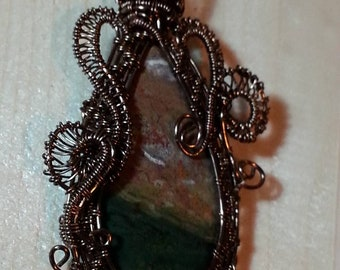 Pendant, Ocean Jasper Stone, wire wrapped, necklace