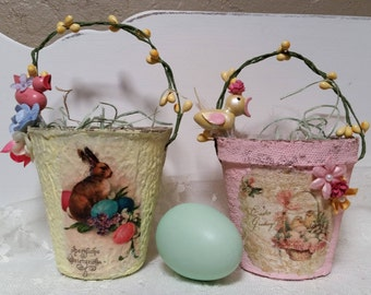 EASTER SPRING Peat Pot Basket Easter Bunny Rabbit Vintage Graphics German Wooden Toys Eggs Yellow Pink Blue Millinery Shabby Cottage Chic