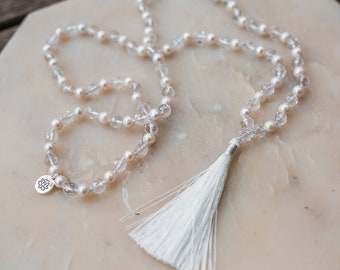 Pearl + Faceted Clear Quartz