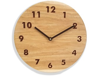 Hickory wall clock. Silent wall clock. Modern wall clock. 10 inch hickory wall clock. Solid hickory wood, engraved numbers.  CL5045