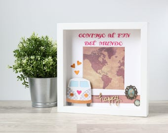 Gift for traveller: Campervan gift, New couples gift, Personalized frame sign, Christmas gift boyfriend, Travel decorations, Map frame sign