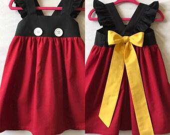 Mickey Mouse Dress, Disney Dress, Baby Girls Dress, Girls Dress, Little Girls Dress, Childs Dress, Party Dress, Flutter Sleeve Dress