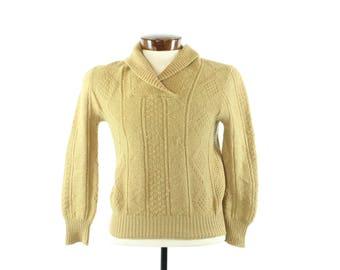 50s Shawl Collar Wool Sweater V Neck Golden Tan Ski Winter Pullover Vintage 1950s Mens Small S Lansing Rockabilly Hipster