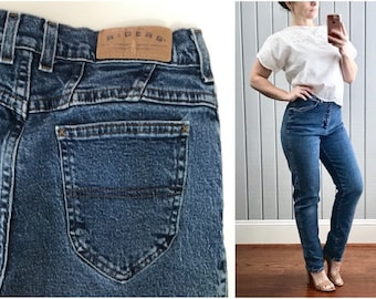 1980s High Waist Mom Jeans | Vintage Riders by Lee | True Vintage Blue Jeans | 1980s Clothing Women | Vintage Clothing