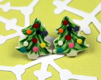Christmas Tree Earrings Handmade Porcelain Ceramic Jewelry