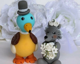 Wedding custom cake topper, duck and wolf cake topper, animal cake topper, personalized bride and groom with banner