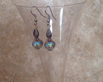 Faceted crystal earrings- shades of grey