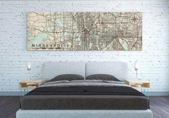 MINNEAPOLIS MN Canvas Print Minnesota Vintage map Minneapolis