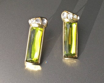 Absinthe Green Rectangle Rhinestone Pierced Post Earrings - Vintage French Paste Rhinestones