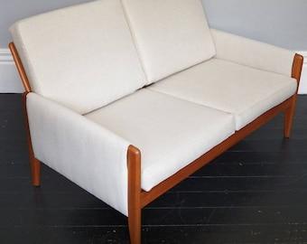 Mid Century Teak Framed Sofa Upholstered in New Natural Linen