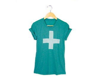 Apothecary Tee - Boyfriend Fit Crew Neck Tshirt with Rolled Cuffs in Heather Turquoise Green & White - Women's Size S-4XL