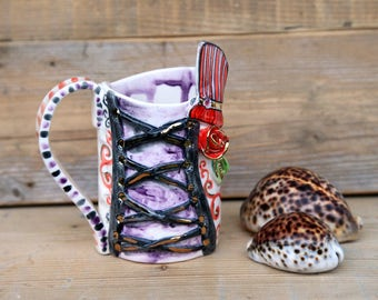 corset,steampunk decor,pottery mug,gothic decor,inspirational mug,stranger things mug,teacher mug,steampunk corset,stoneware mug,purple mug