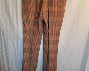 Mens vintage flat front plaid pants, 38x33+, cuffed