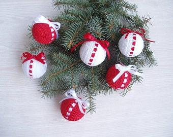 Christmas Crochet Balls, Shatterproof  White Red Crochet Christmas Ornaments, ООАК Christmas Decoration
