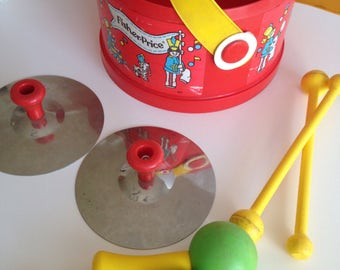 Awesome Vintage 1970's Fisher Price Drum and Percussion Set