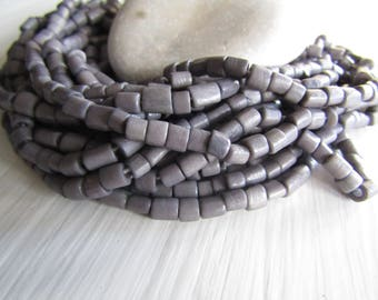 grey tube bone beads, rondelle barrel spacer Bone beads, rough Irregular look,  boho exotic beads 4 to 7mm long  (50 beads) 7bb5-2