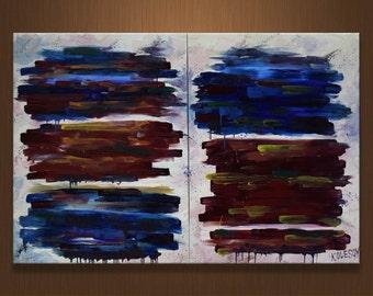 Large Diptih, Christmas gift, Large painting, Original oil on canvas, Abstract painting, Diptih painting, Handmade Art, by Sergei Kolesov