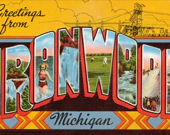 Linen Postcard, Greetings from Ironwood, Michigan, Copper Falls, Golfing, Large Letter