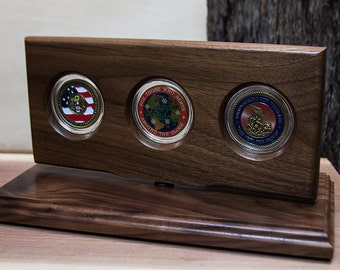 Military Coin Holder, Challenge Coin Display, Military Gifts, Natural Black Walnut wood, 3-coin, Made in America - RCD3-BW