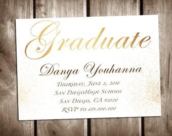Printable Graduation Announcement/High School Graduation Invitation Template/College Graduation/Class of 2018/Graduation Announcement/Gold