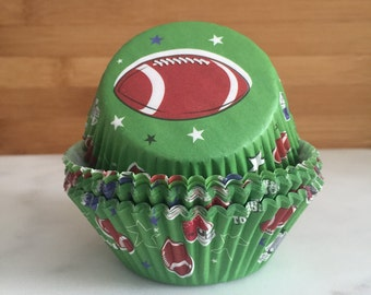 Football Cupcake Liners, Standard Sized, Baking Cups (50)