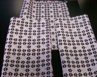 Quilt Fabric, Three pieces of Black and White Cotton Fabric