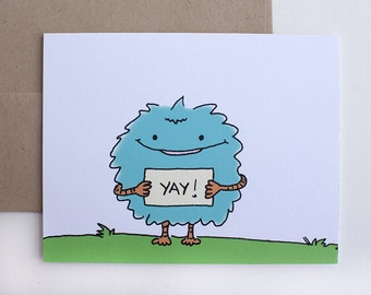 Monster Celebration Card – Congratulations Card – Monster All Occasion Card