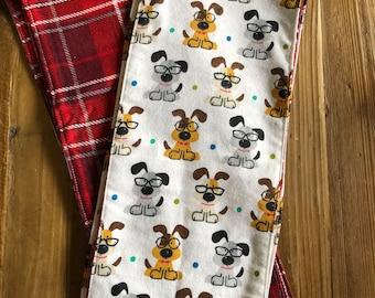 Doggies in Glasses Flannel Burp Cloths
