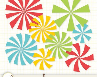 Sunburst Radial Burst Brights Clipart  - 16 Digital Clip Art Files PNG and Vector EPS Files Commercial Use