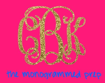 Glitter Monogram Car Decal Sticker Gold or Silver Glitter