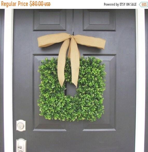 SUMMER WREATH SALE Burlap Bow Boxwood Wreath, Cottage Chic Decor, Spring Wreath, Housewarming Gift, Kitchen Decor, Shabby Chic Decor, Burlap
