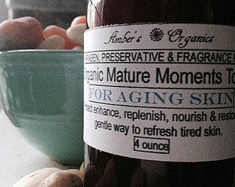 Organic Mature Moments Toner - Aging Skin DMAE & Alpha Hydroxy Acids AHA
