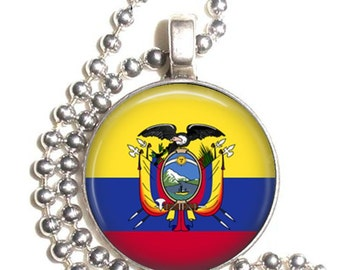 Ecuador Flag, Altered Art Pendant, Earrings and/or Keychain, Round Photo Silver and Resin Charm Jewelry, Flag Earrings, Flag Key Fob