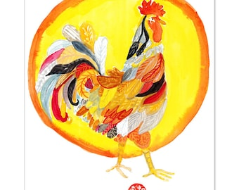 Rooster, Chinese Year of the Rooster, Original Zen Watercolor Painting, zen decor, child's nursery wall art, japan art, chicken