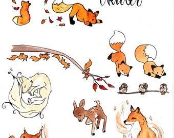 Sticker set 2 autumn forest
