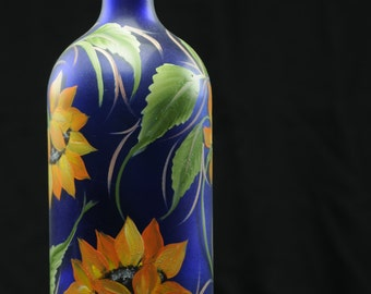 1.5 Ltr. Hand Painted Lighted Wine Bottle / Sunflowers on Blue Bottle