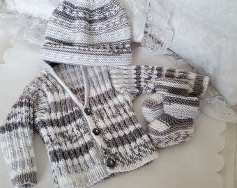 Knitted Baby Clothes - Hand Knitted Baby Cardigan Hat & Booties - Handmade Baby Boys Sweater Set 3-6 Months - Ready To Ship