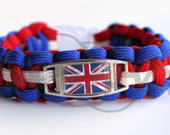 Your Flag On ALLOY Charm on Cobra 550 Paracord Survival Strap Bracelet w/ Plastic Contoured Side Release Buckle