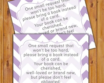 Lilac In Lieu of card, Book Baby Shower Invitation Inserts Instead of a Card Purple Chevron Printable PDF--Instant Download